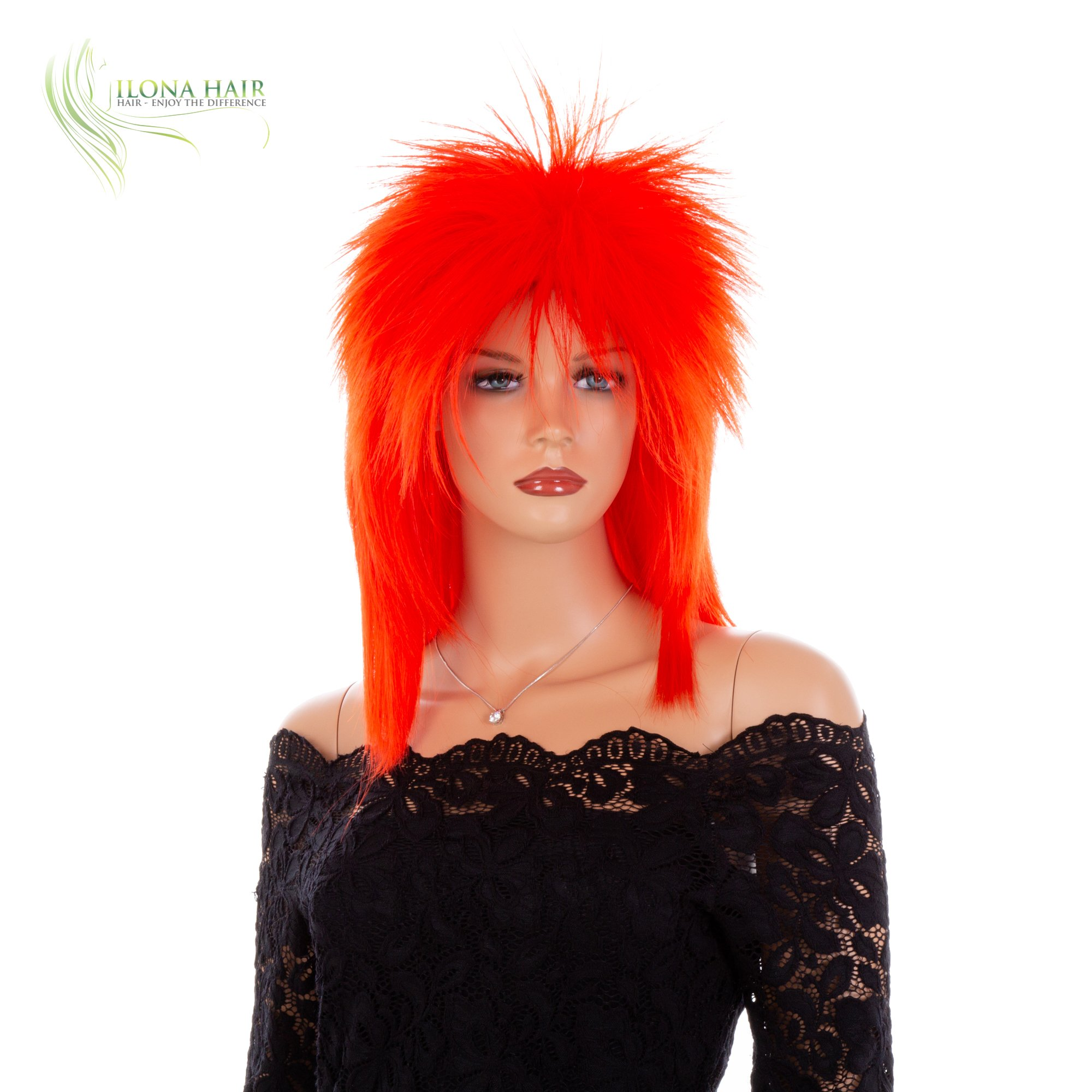 Punk Rocker Rockstar Glam Colorful Wig for Party Halloween Off-White Black Green Pink Purple Red (DF1)