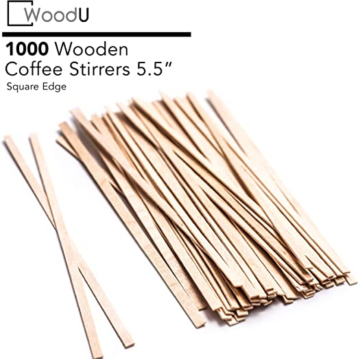 5.5 inch Paper Wrapped 1000 Pcs Woogist Wooden Disposable Coffee Stir Sticks Wood Coffee Stirrers