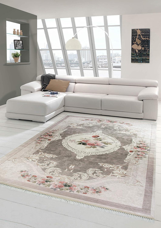 Merinos Teppich Blumen Wohnzimmerteppich Waschbar in Beige Rosa Größe 140x200 cm Oval