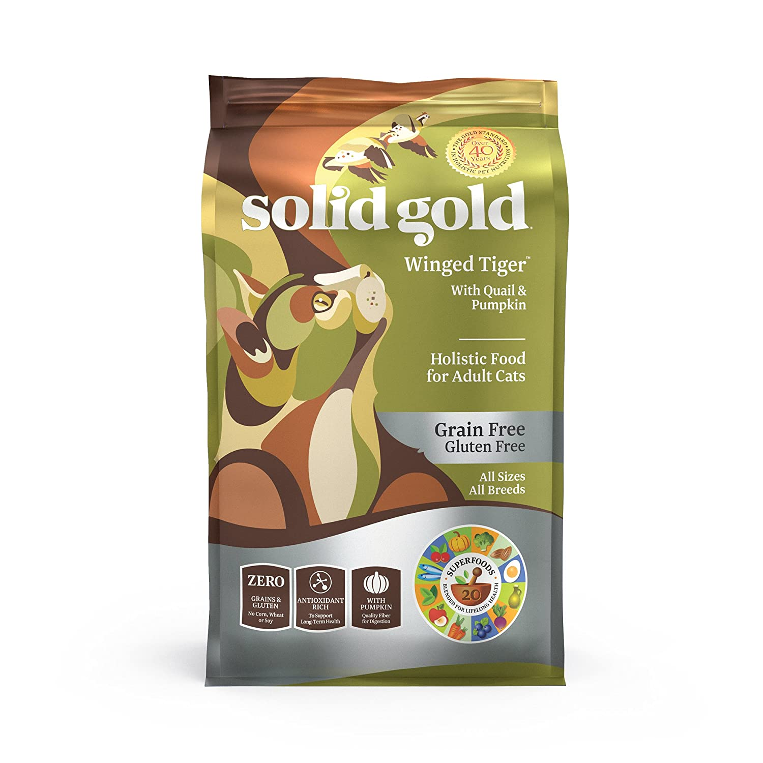 Solid Gold - Winged Tiger - Real Quail & Pumpkin - Grain-Free & Gluten-Free - Holistic Sensitive Stomach dry cat food for Adult & Senior Cats