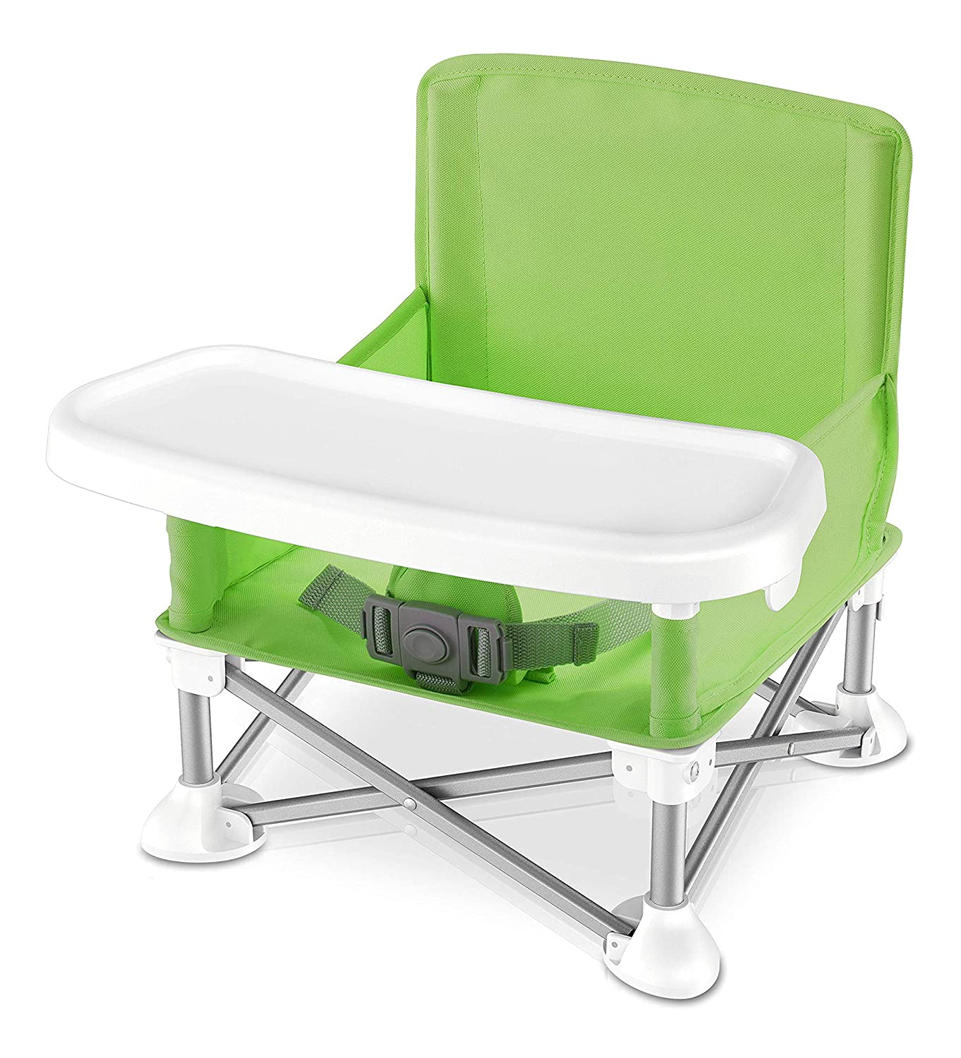 Amazon Com Baby Seat Booster High Chair Portable Space Saver High Chair Toddler Seat Portable High Chair Pop N Sit Folding Feeding Booster W Safety Belt Food Tray Travel Bag Serenelife Slbs66g Green Automotive