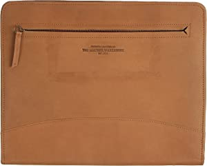 The Leather Warehouse Zippered Holder Padfolio / Portfolio Document Resume Ipad Busniess Card Tablet / Phone Holder - TAN