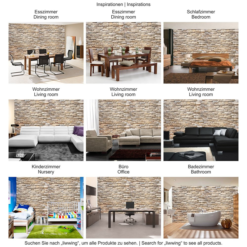 Mural noble stone wall no 2 natural continuable non woven wallpaper 78 7 x 55 1 inches 200x140 cm 100 made in germany amazon com