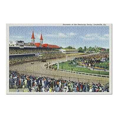 Louisville, Kentucky - Souvenir of The Kentucky Derby; Race Scene - Vintage Halftone (Premium 500 Piece Jigsaw Puzzle for Adults, 13x19, Made in USA!): Toys & Games