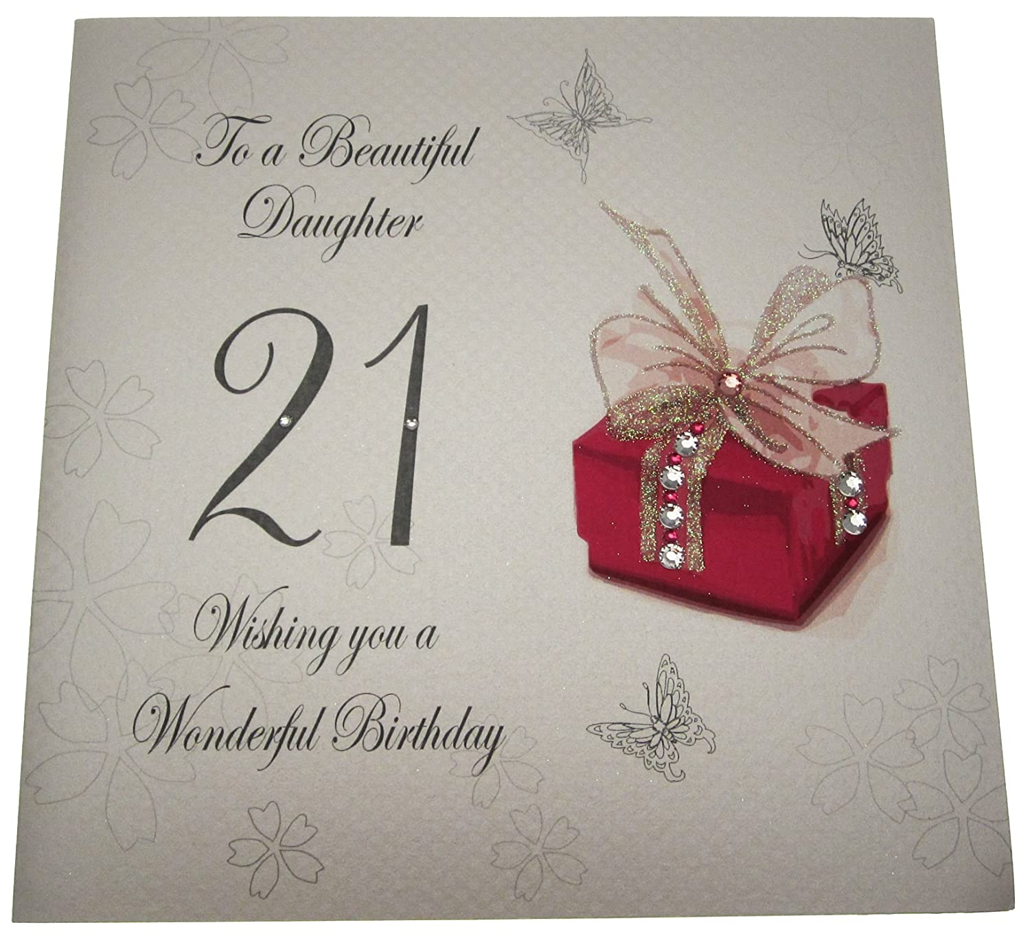 white cotton cards Code XDS21 To A Beautiful Daughter 21 Wishing – Birthday Daughter Card