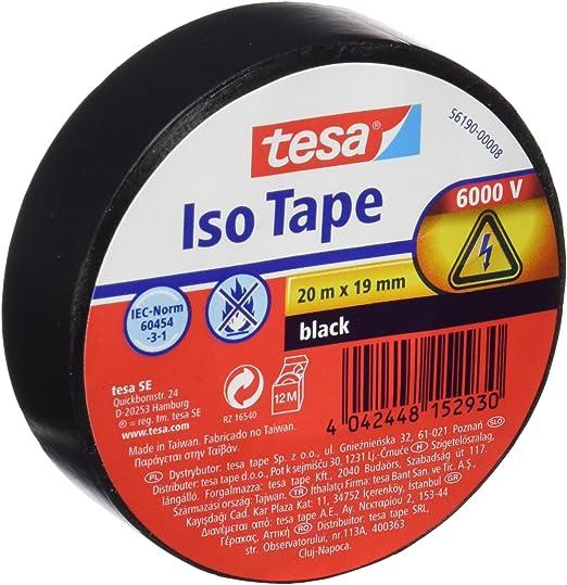 Tesa TS5619000008 - Cinta aislante, color negro: Amazon.es: Bricolaje y herramientas