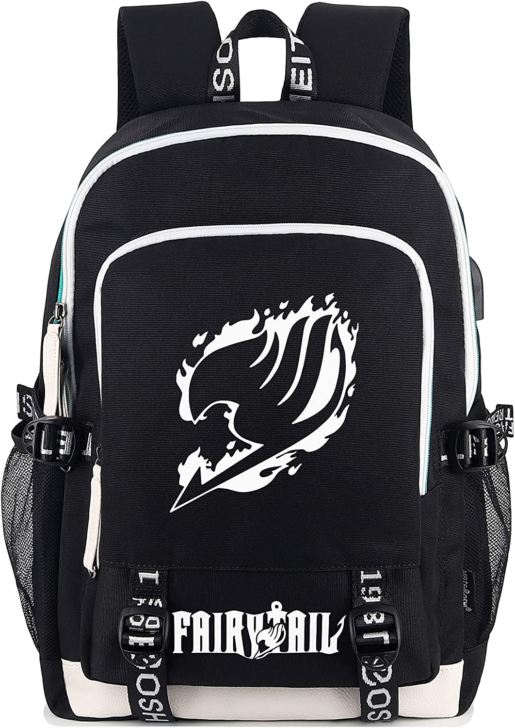 Roffatide Anime Fairy Tail Backpack Luminous Printed College School Bag Laptop Backpack with USB Charging Port & Headphone Port