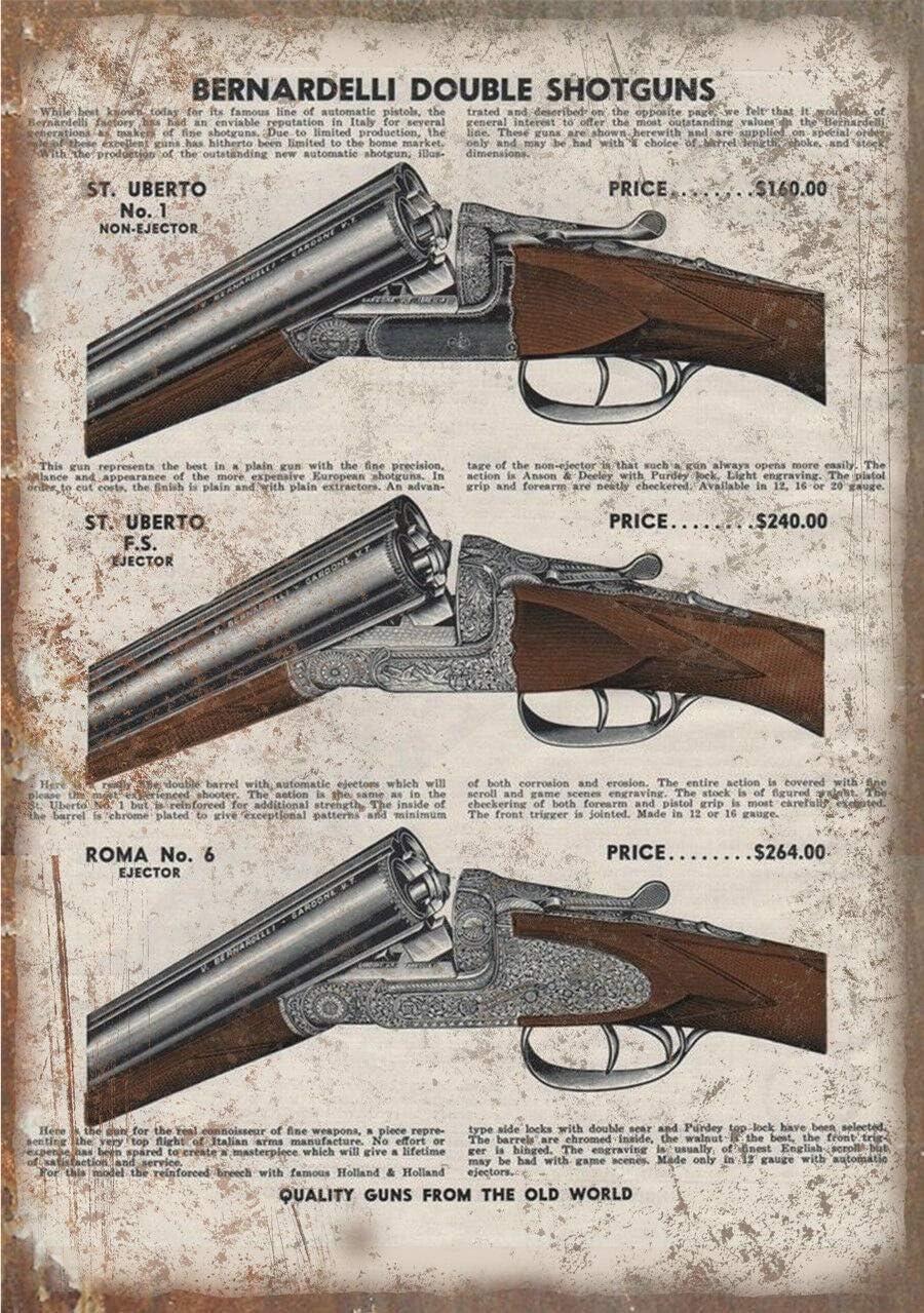 Cartel de estaño para decoración de pared, diseño de armas de fuego Beretta con escopeta doble, 20,3 x 30,5 cm, metal estaño, decoración de pared, cocina, garaje, bar y hogar