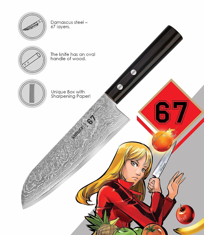 SAMURA Damasco 67 - Cuchillo de Acero japonés para santoku ...