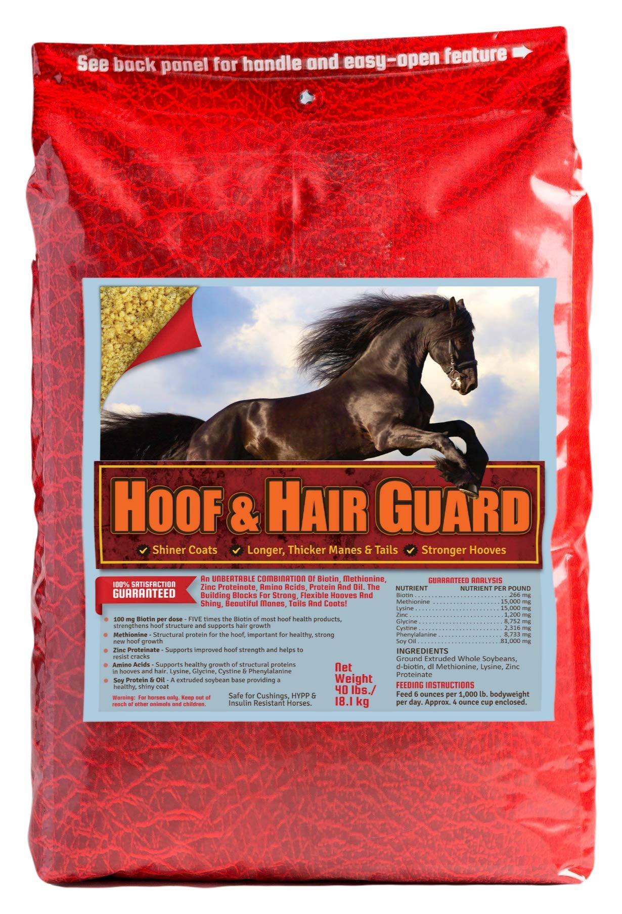 Horse Guard Hoof & Hair Guard Equine Hoof Supplement And Equine Coat Supplement With Amino Acids, Biotin, Methionine & Soy Oil, 40 Lb