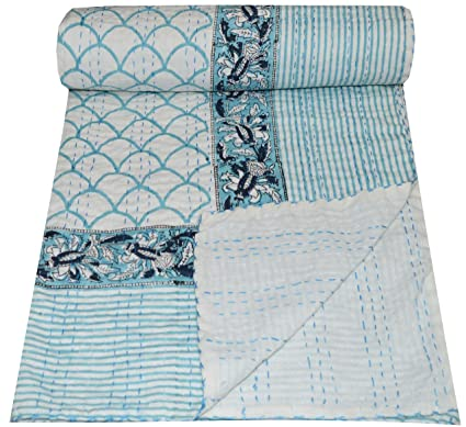 Indian Handmade Quilt Vintage Kantha Bedspread Throw Cotton Blanket Gudri !Queen