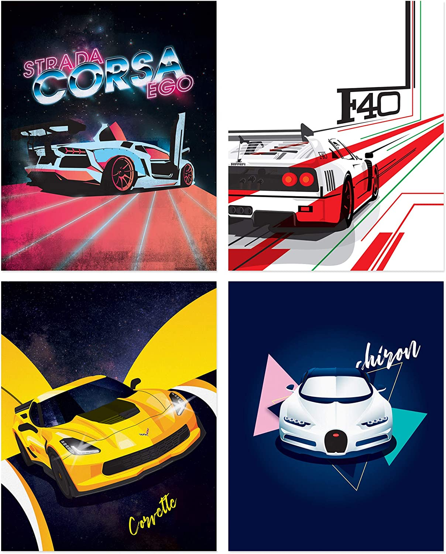 Sports Car Poster Prints - Set of 4 Unframed (8x10 inches) Exotic Supercar Decor - Lamborghini - Bugatti - Ferrari - Corvette - Great Gift - Illustrations