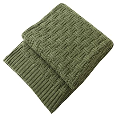 Treely 100% Cotton Cable Knit Throw Blanket for Couch Bed Sofa,Super Soft Warm Home Decorative Blankets(50 x 80 Inches,Green Forest)