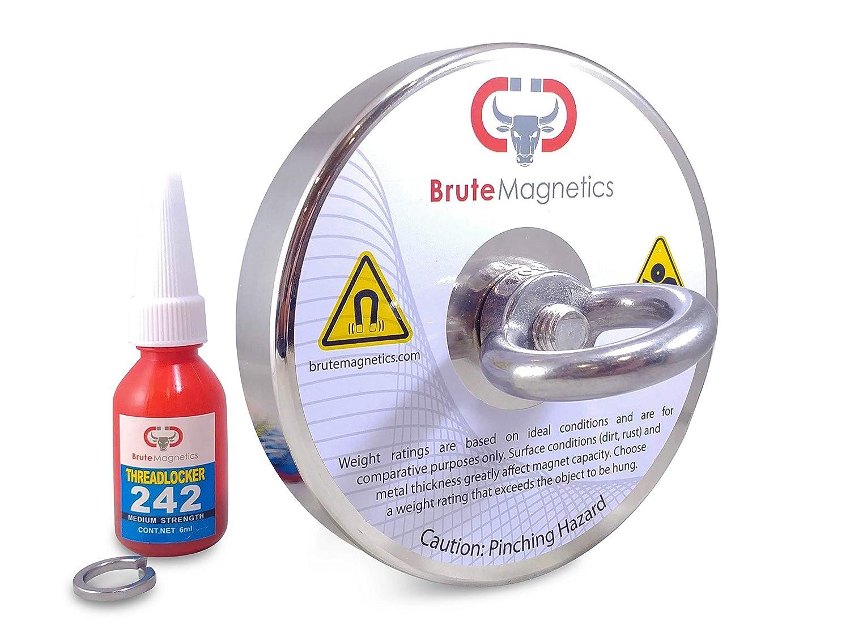1,200+ lb Brute Magnetics Brute Box 545 KG 120mm 4.72 Magnet + Rope + Carabiner + Threadlocker The Original Magnet Fishing Bundle