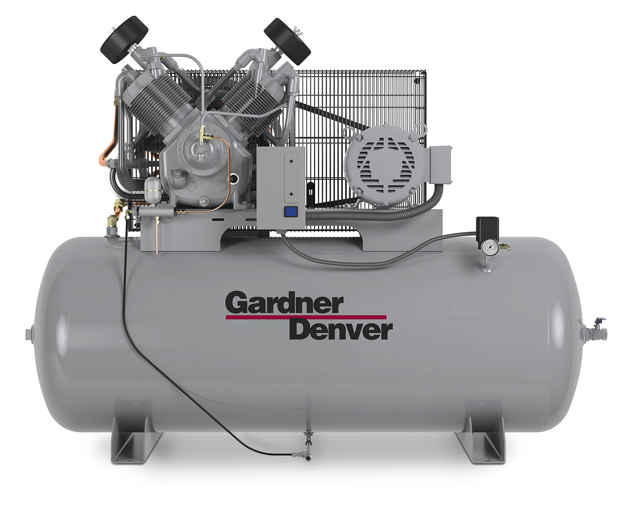 Gardner Denver Reward Series 10 HP Reciprocating Compressor 208V/3 Phase Mounted on a 120 Gallon California Coded Vertical Tank, 34.8 CFM Maximum Flow Rate