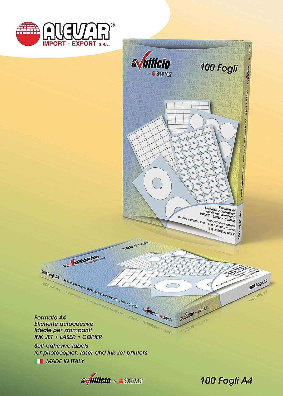 4 Etichette Adesive con Margine su Foglio A4 Misura Etichetta mm 105 x 140 Conf. da 100 Fogli Alevar CM406
