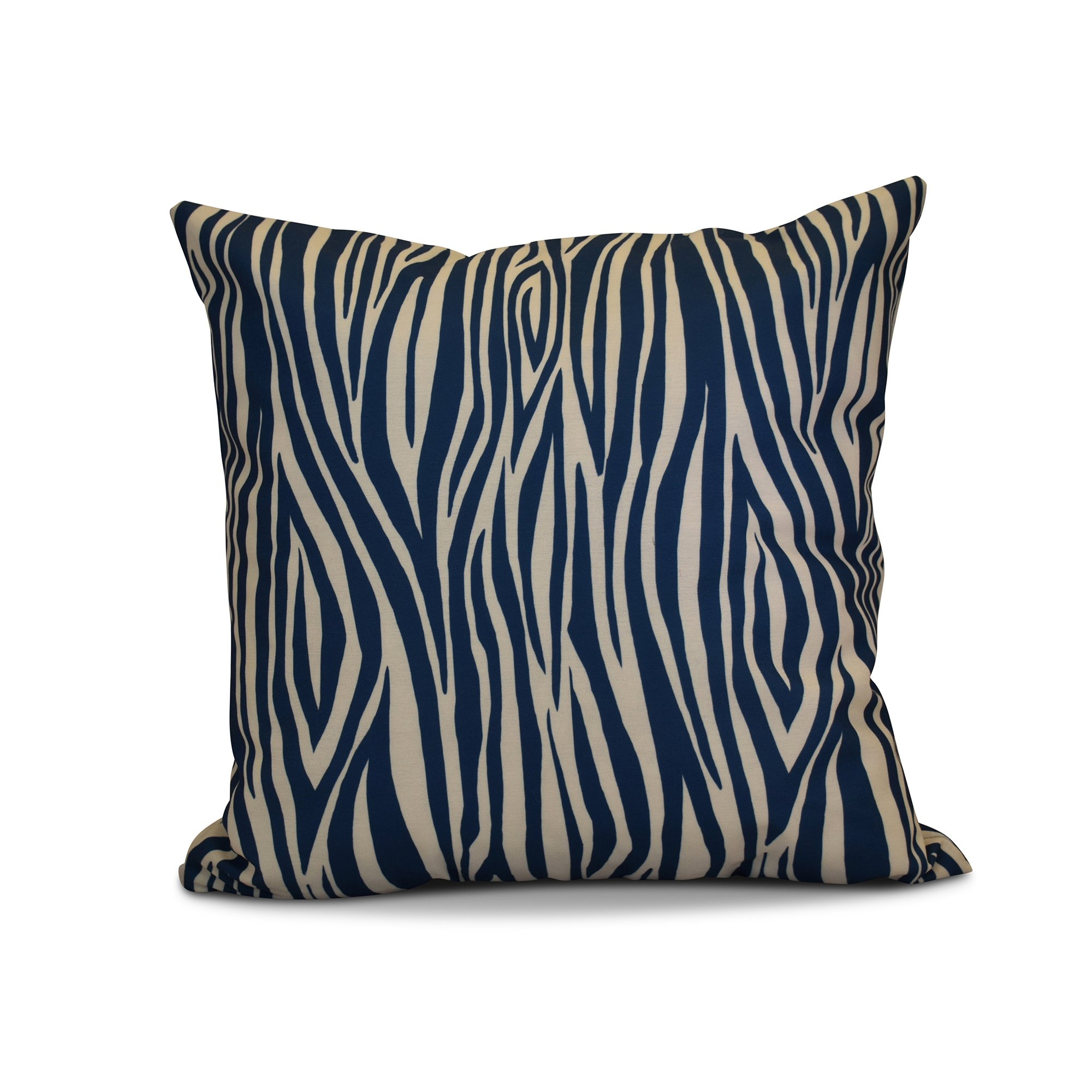 E by design 16 x 16-inch, Wood Stripe, Geometric Print Pillow, Navy Blue by E by design (Image #1)
