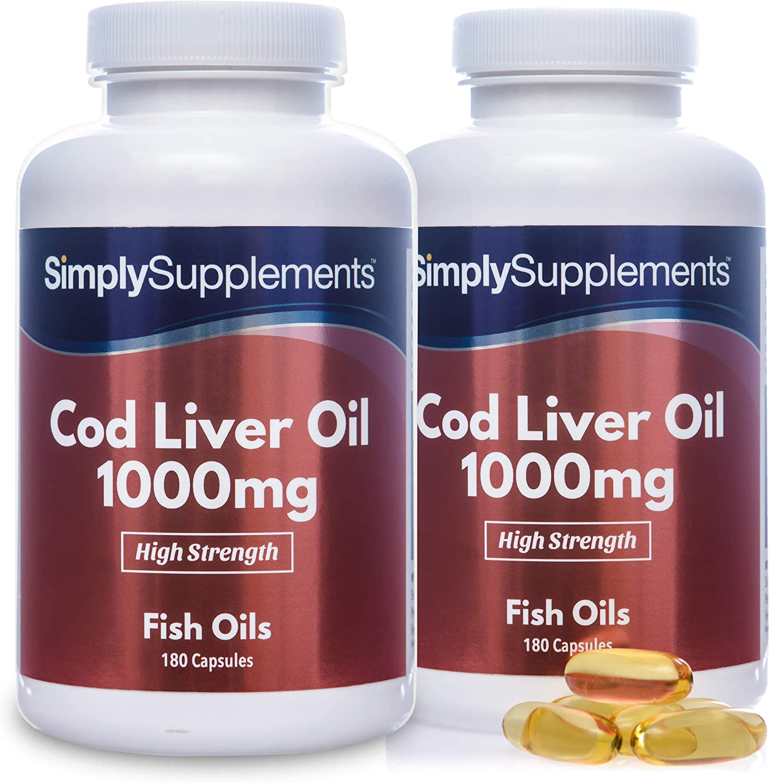 Aceite de Bacalao 1000 mg - ¡Bote para 1 año! - 360 Cápsulas - SimplySupplements