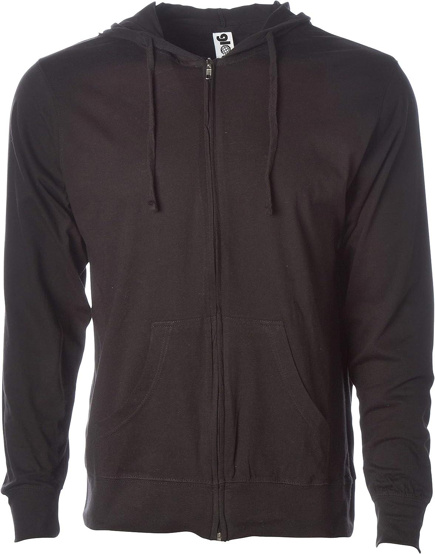 Global Blank Mens Lightweight Tshirt Jersey Full Zip Up Hoodie Hooded Sweatshirt