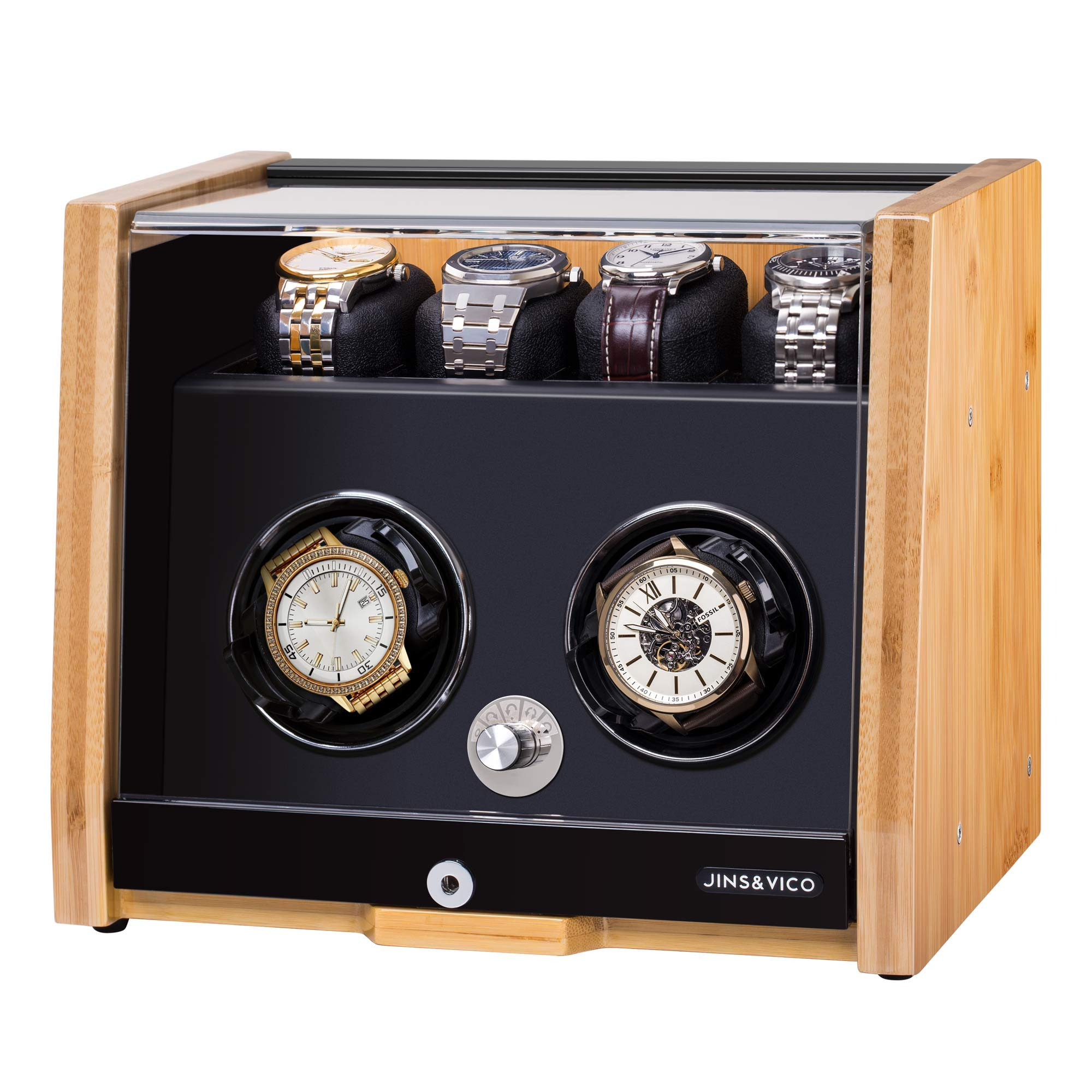 Watch Winder Made of Premium Natural Bamboo Shell for 6 Automatic Watches with High-gloss Craftsmanship, 4 Setting Modes and Super Quiet Motor, Built-in Lock by JINS&VICO