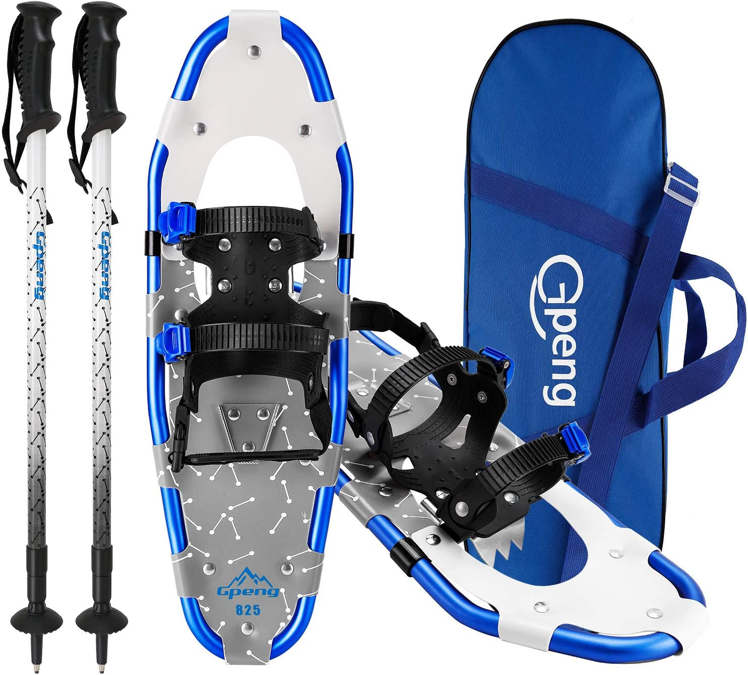 Gpeng Xtreme Lightweight Terrain Snowshoes Set for Men Women Youth Kids Boys Girls, Light Weight Aluminium Alloy Terrain Snow Shoes with Trekking Poles and Carrying Tote Bag, 14 21 25 27 30