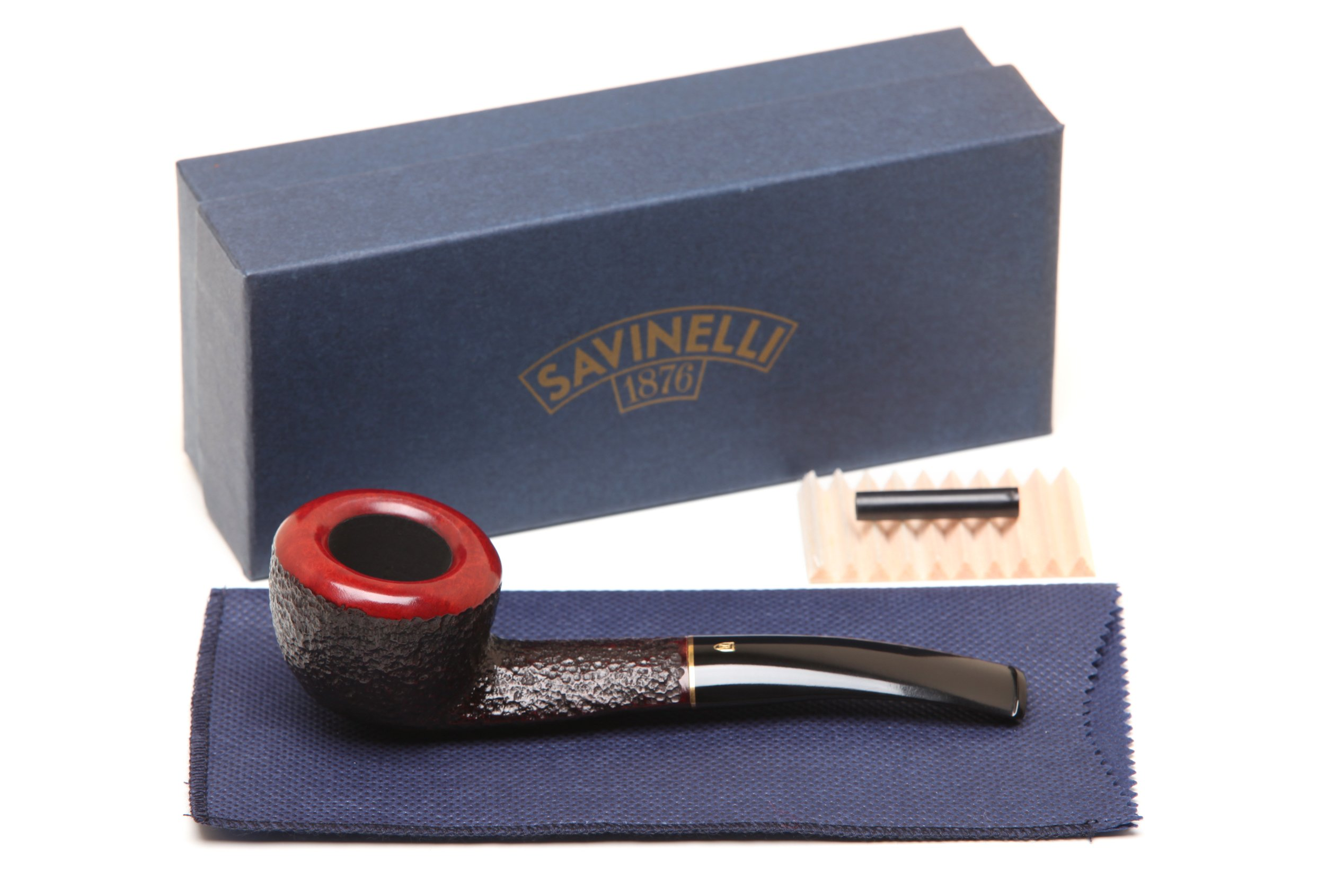 Savinelli Italian Tobacco Smoking Pipes, Roma Rusticated Black