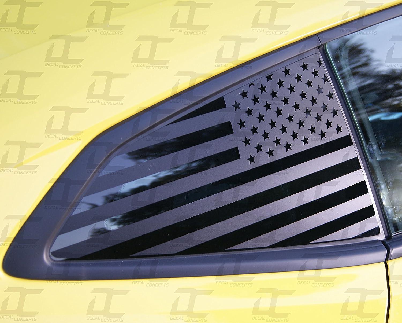 Amazon com camaro 6th gen american flag rear quarter window accent decal kit 2016 2018 flat back automotive