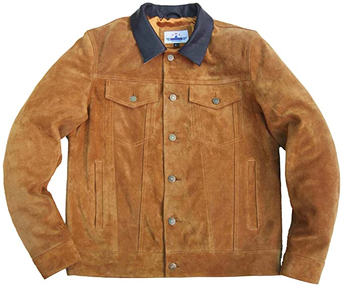 e0e3f674 FIVESTAR LEATHER Men Trucker Tan Suede Classic Western Denim Style Leather  Jacket Brown Collar (XS