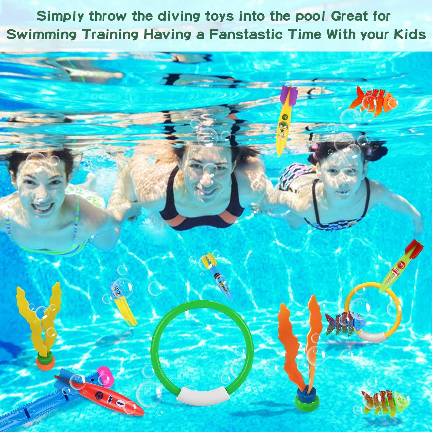 Toypedo Bandits and Diving Fish with Portable Storage Bag Summer Sinking Dive Pool Toy for Kids Auney 26 Pcs Diving Toy Set Underwater Swimming Diving Rings Diving Sticks Stringy Octopus