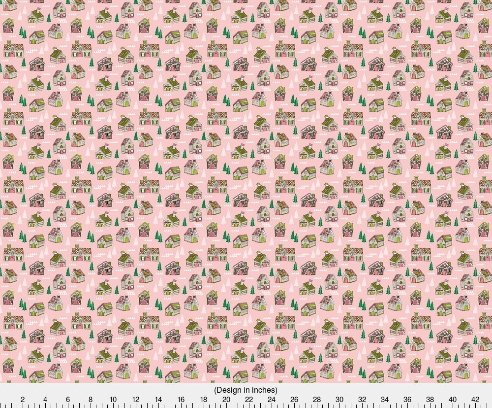 Amazon.com: Gingerbread House Fabric Gingerbread Houses // Cute Pink ...