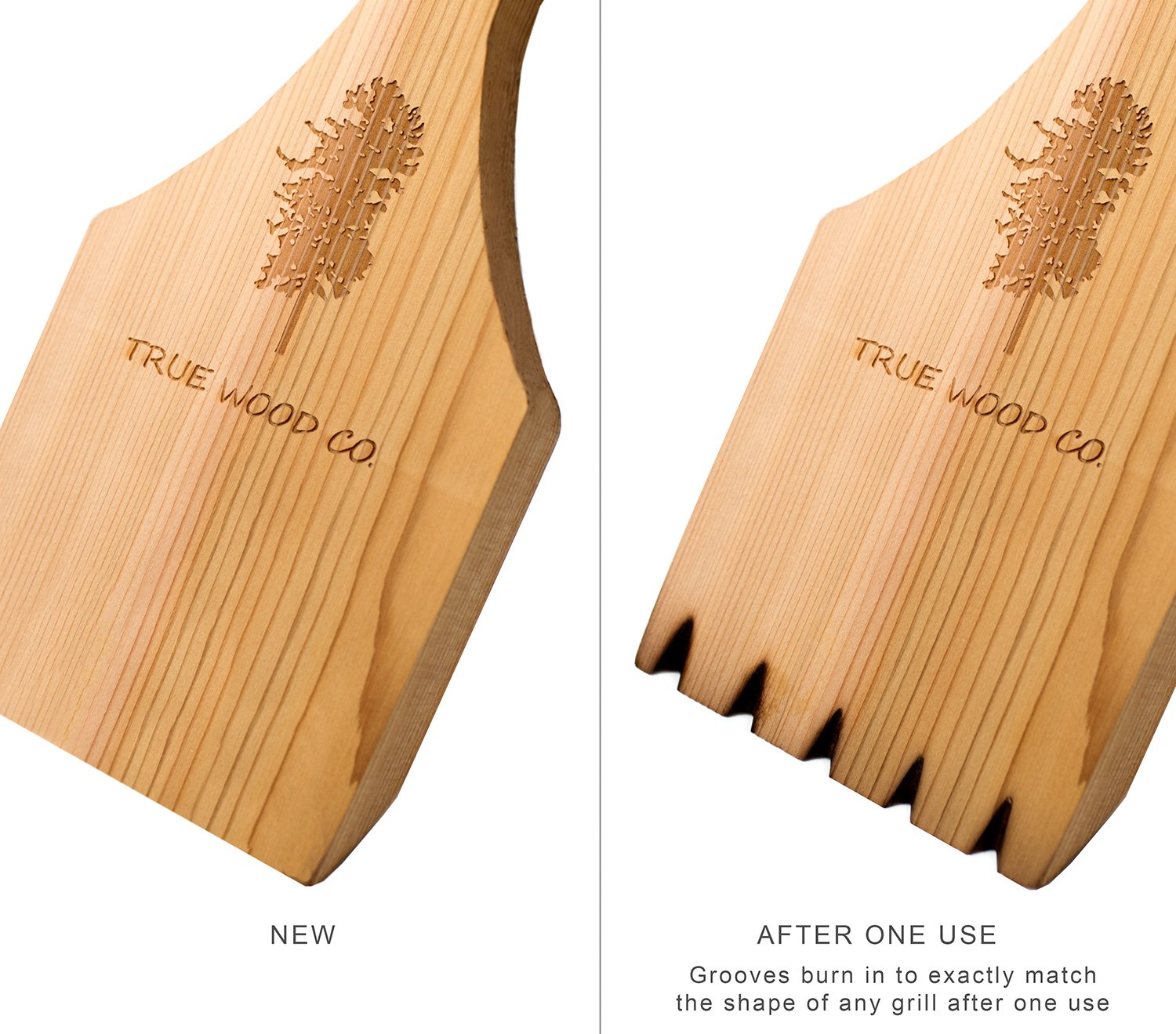 Wooden BBQ Scraper for Grill Cleaning. Safe Alternative to Wire BBQ Brushes. Extra Long Handle for Safety and Comfort. Professional Bristle Free Cleaner. West Red Cedar Wood. (21.5'') by True Wood Co. (Image #3)