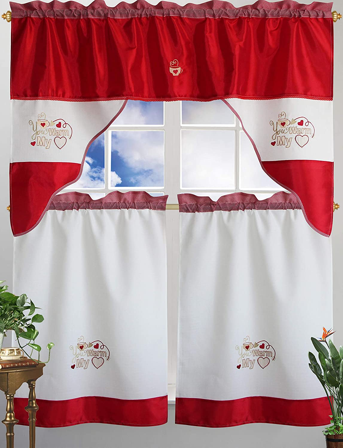 Home Collection Coffee Cup & Heart Embroidered Kitchen Curtain Tiers & Swag Set (RED)