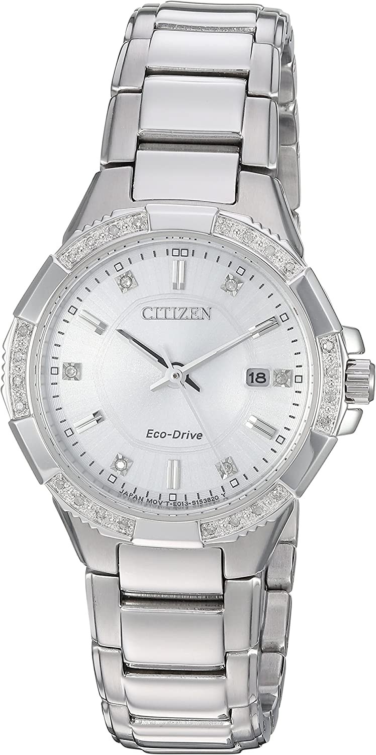 Citizen Women's 'Eco-Drive' Quartz Stainless Steel Casual Watch, Color:Silver-Toned (Model: EW2460-56A)