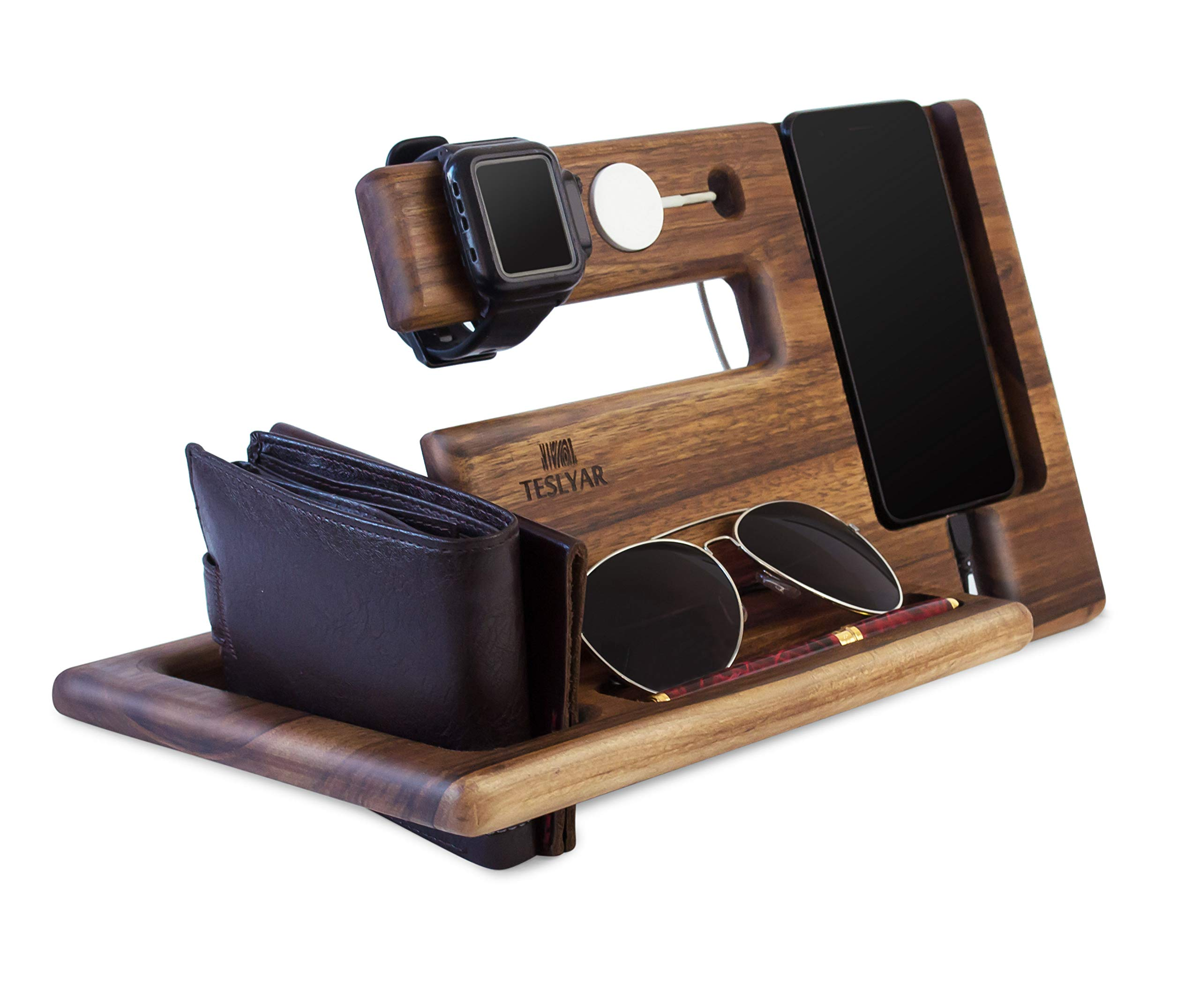 Wood Phone Docking Station Walnut Key Holder Wallet Stand Magnetic Watch Charger Slot Organizer Men Gift Husband Wife Anniversary Dad Birthday Nightstand Tablet Father Graduation Male Travel Idea