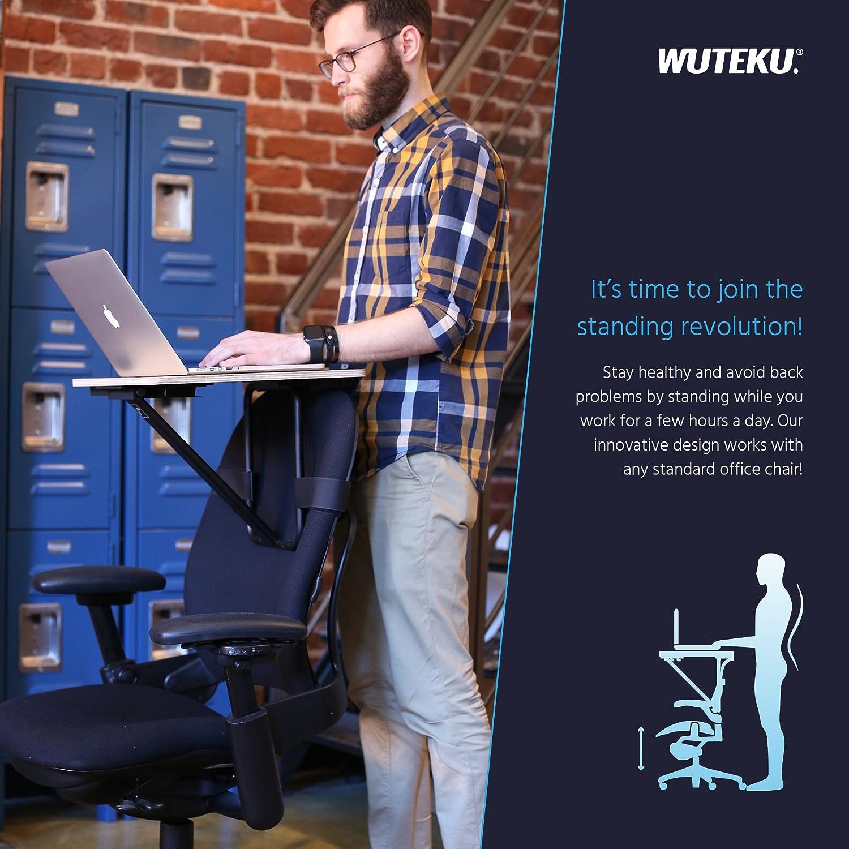 Presa telefonica e custodia da trasporto inclusa Wuteku supporto per notebook Si adatta a qualsiasi dimensione e stile sedia Miglior Tablet and Tabella del computer In piedi Scrivania Sedia