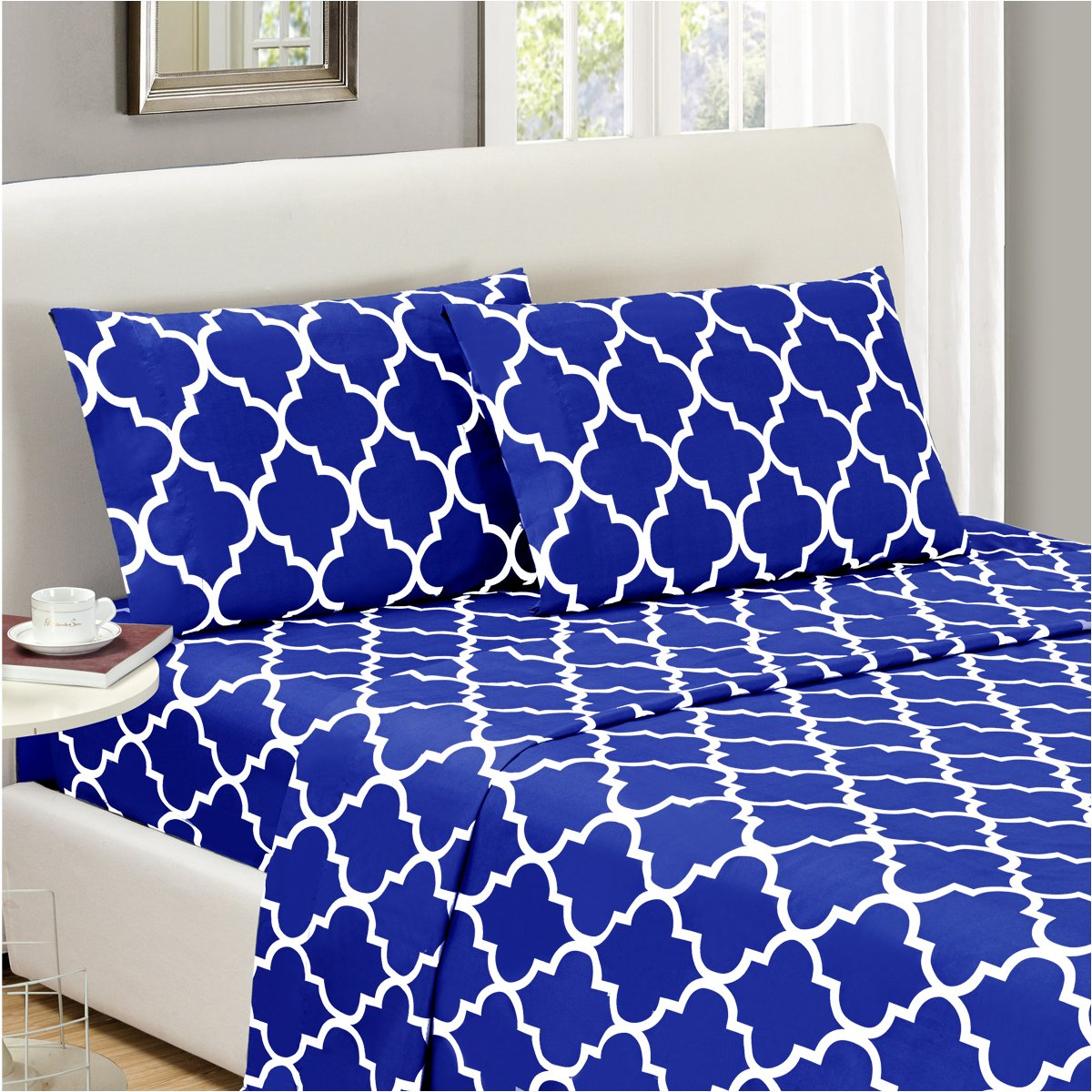 Mellanni Bed Sheet Set Full-Imperial-Blue - HIGHEST QUALITY Brushed Microfiber Printed Bedding