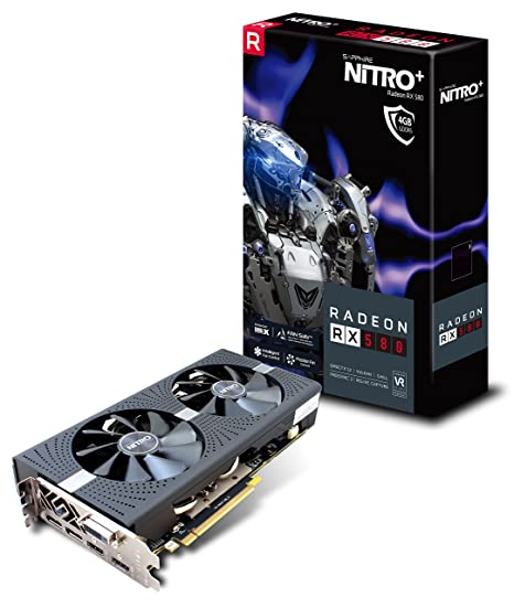 Sapphire 11265-07-20G Radeon Nitro+ Rx 580 4GB GDDR5 Dual HDMI/ DVI-D/ Dual DP with Backplate (UEFI) PCI-E Graphics Card
