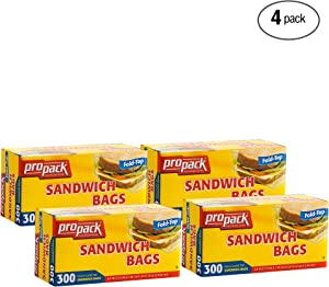 ProPack Disposable Plastic Sandwich Bags with Fold Close Top 1200 Bags, Great for Home, Office, Vacation, Traveling, Sandwich, Fruits, Nuts, Cake, Cookies, Or Any Snacks (4 Packs)