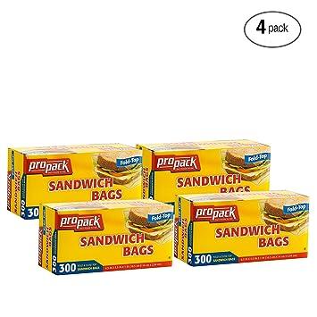 Amazon.com: Propack Sandwich Bolsas Fold & Close parte ...