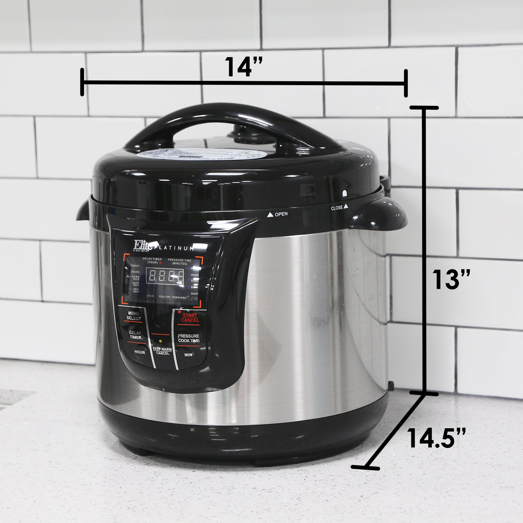 Elite Platinum 8 Quart 14-in-1 Multi-Use Programmable Pressure Cooker, Slow Cooker, Rice Cooker, Sauté, and Warmer - Black by Maxi-Matic (Image #3)