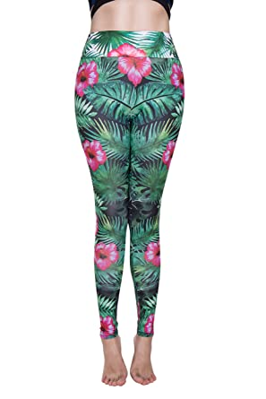 db8e1bd2e1d CROSS1946 Sexy Women s Flower Leaf Yoga Pants Stretch Pattern Leggings  Fitness Tights Active Green S