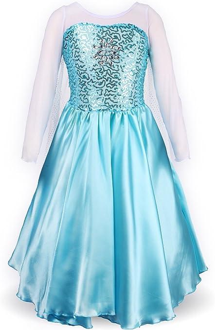 ReliBeauty - Vestido Princesa Elsa Traje Manga Larga para niñas ...