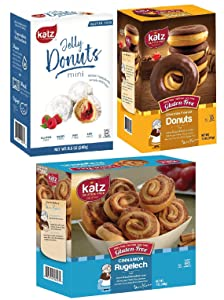 Katz Gluten Free Snacks Donuts & Rugelach Variety Pack   Gluten Free, Dairy Free, Soy Free, Nut Free   Mini Jelly Donut, Chocolate Frosted Donut, Cinnamon Rugelach   Kosher (1 Pack of each, 3 Total))