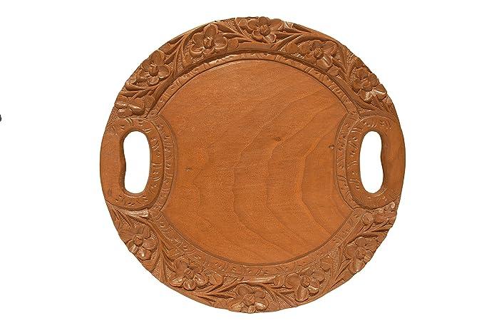 Bandeja de servir antigua hecha a mano de madera con manijas | Bandeja decorativa de la vanidad | Decoración de bandeja de mesa | Pequeña bandeja redonda ...