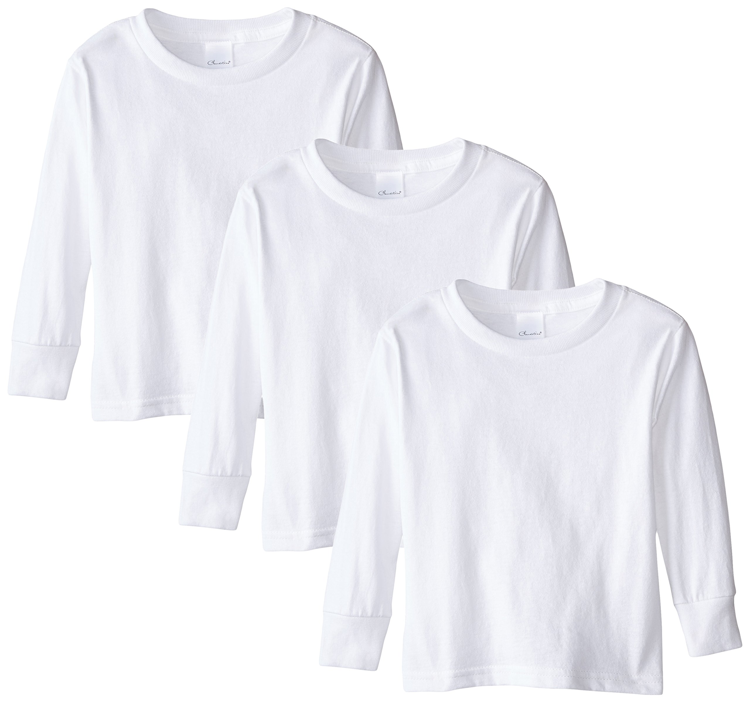 Clementine Little Girls' Toddler Long Sleeve Basic T-Shirt Three-Pack,White,2T