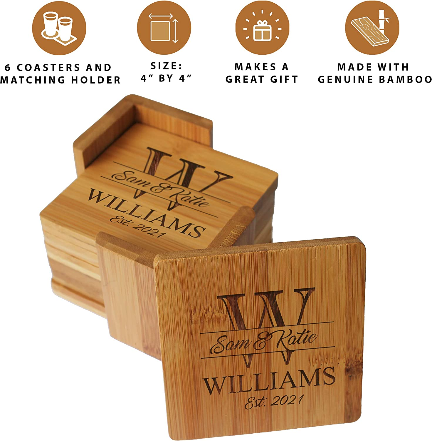Amazon Com Custom Engraved Bamboo Wood Coasters Personalized Coaster Set For Drinks Weddings Couples With Holder Square Bamboo Kitchen Dining