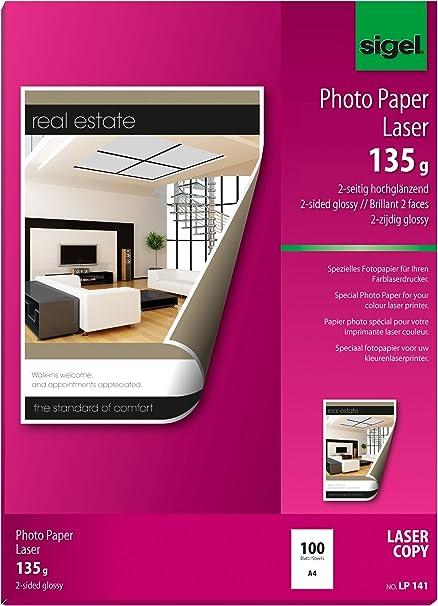 Sigel LP141 - Papel fotográfico color, 135 g, 100 hojas, A4 ...