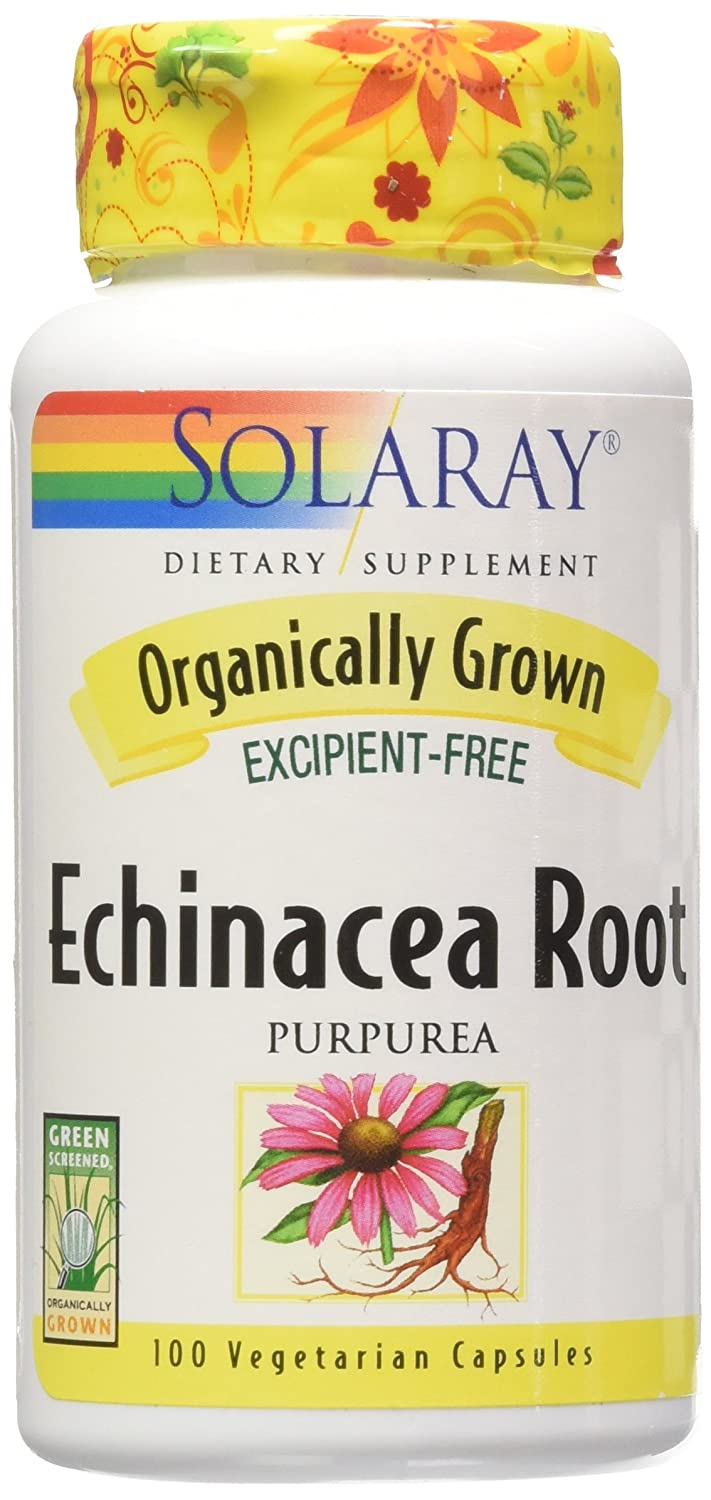 Solaray Organic Echinacea Purpurea Root Supplement, 450 mg, 100 Count