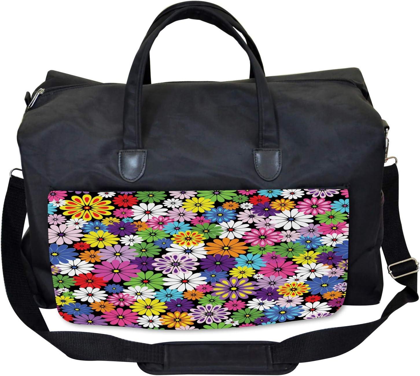 Ambesonne Colorful Gym Bag Large Weekender Carry-on Floral Vivid Daisies