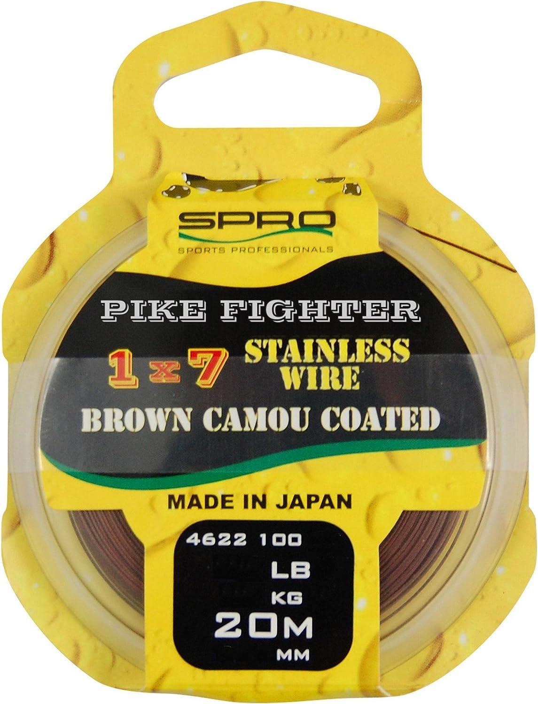 Vorfachmaterial f/ür Hechtvorfach Stahlvorfach zum Raubfischangeln Spro Pike Fighter 1x7 Coated Wire 20m Spinnvorfach